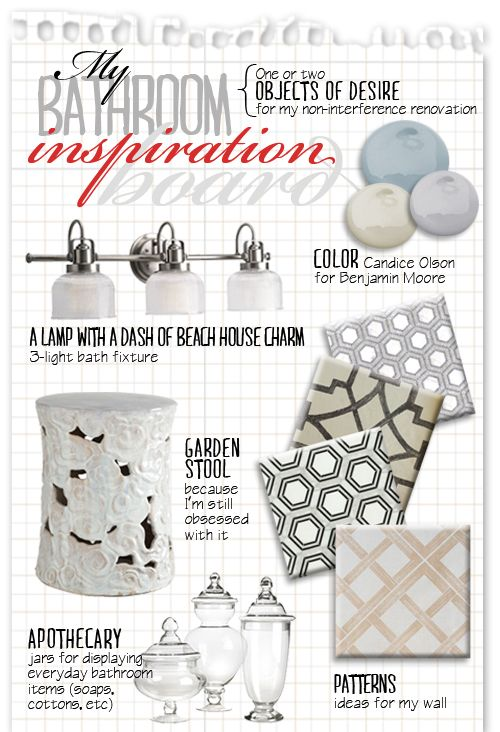 A bathroom inspiration board - Know How She Does It
